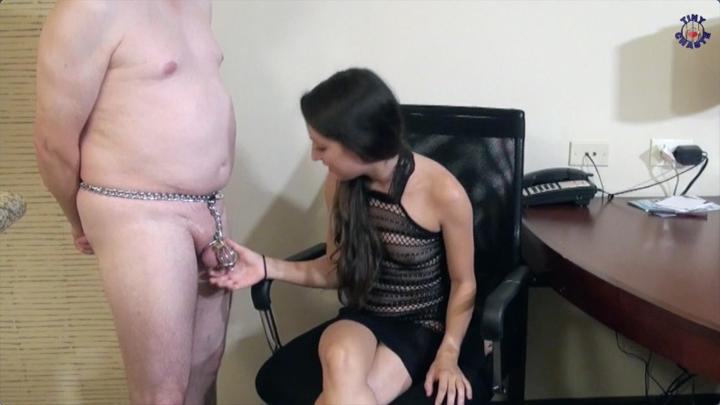 femdom freya von doom inspects chastity slave